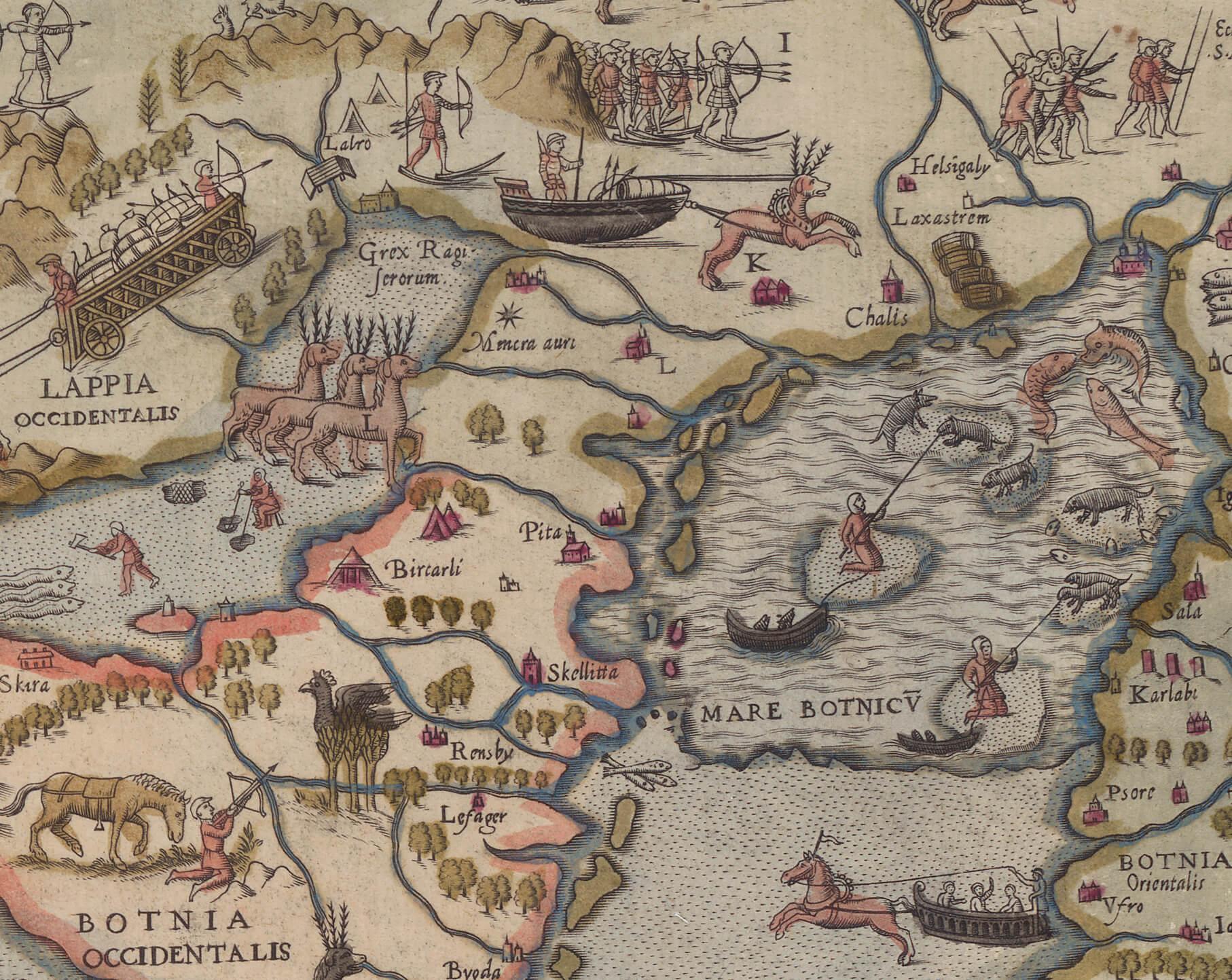 Detalj från Olaus Magnus Carta Marina, 1539